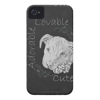 Chalk Drawing of Adorable Pitbull iPhone 4 Case