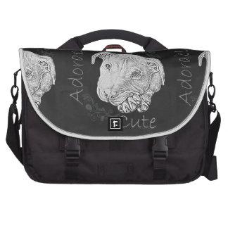 Chalk Drawing of Adorable Pitbull Computer Bag