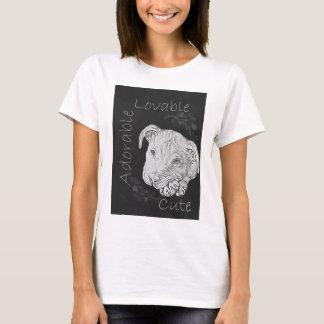 Chalk Drawing of Adorable Pitbull T-Shirt