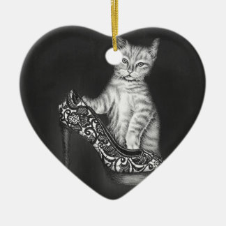 Chalk Drawing of Cat Kitten with Shoe Ceramic Ornament