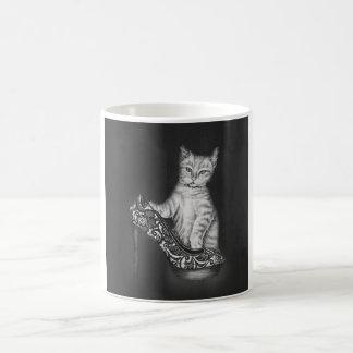 Chalk Drawing of Cat Kitten with Shoe Coffee Mug