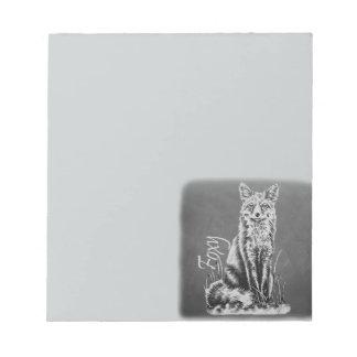 Chalk Drawing of Fox Animal Art on Chalkboard Memo Note Pads