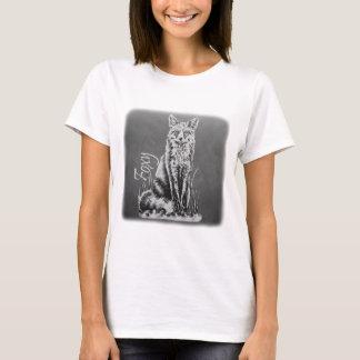 Chalk Drawing of Fox Animal Art on Chalkboard T-Shirt