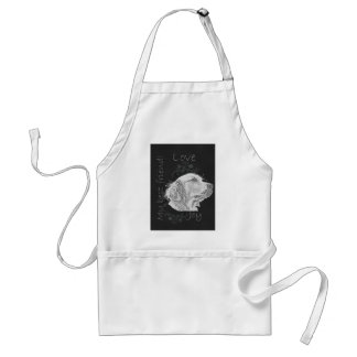 Chalk Drawing of Golden Retriever Adult Apron