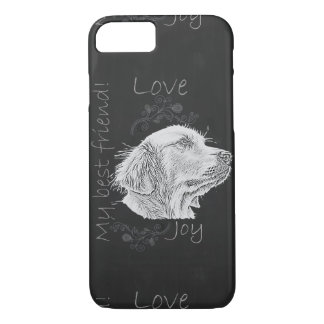 Chalk Drawing of Golden Retriever on Phone Case