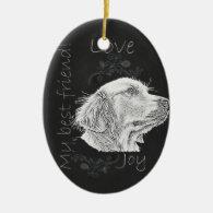 Chalk Drawing of Golden Retriever Christmas Tree Ornament