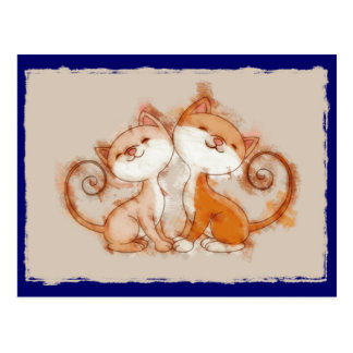 Chalk Drawing of Two Kittens Postcard