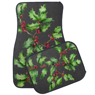 Chalk Drawn Holly and Berry Branch Car Mat