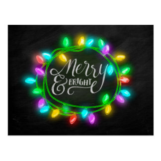 Chalk Drawn Merry and Bright with Lights Postcard