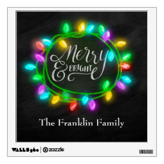 Chalk Drawn Merry and Bright with Lights Wall Decal