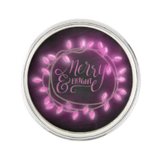 Chalk Drawn Pink Merry and Bright with Lights Lapel Pin