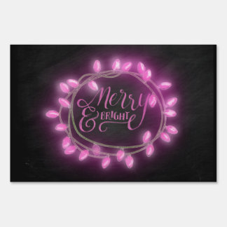 Chalk Drawn Pink Merry and Bright with Lights Lawn Sign