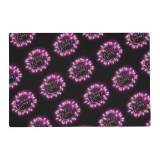 Chalk Drawn Pink Merry and Bright with Lights Placemat