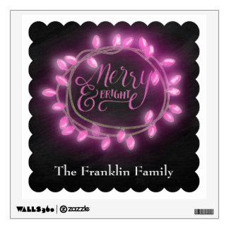 Chalk Drawn Pink Merry and Bright with Lights Wall Decal