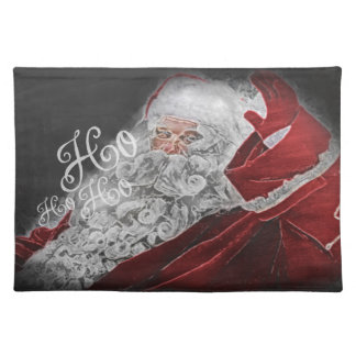 Chalk Drawn Santa Ho Ho Ho Holiday Cloth Placemat