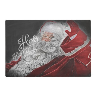 Chalk Drawn Santa Ho Ho Ho Holiday Placemat