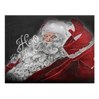 Chalk Drawn Santa Ho Ho Ho Holiday Postcard