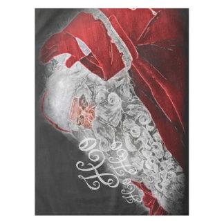 Chalk Drawn Santa Ho Ho Ho Holiday Tablecloth