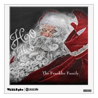 Chalk Drawn Santa Ho Ho Ho Holiday Wall Sticker