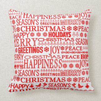 Chalk Drown Christmas Greeting In Red And White Pillows