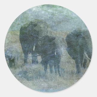 Chalk Elephants Classic Round Sticker