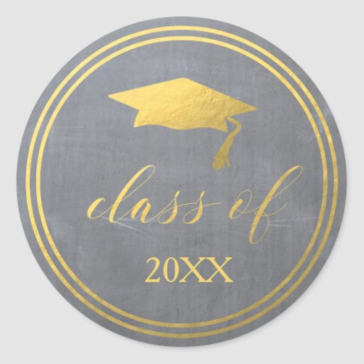 Chalk & Faux Gold Foil Graduation Envelope Seal