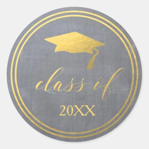 Chalk & Faux Gold Foil Graduation Envelope Seal