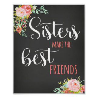 Chalk Girls Sisters Baby Room Poster Art Print