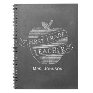 Chalk Inspired Apple 1st Grade Teacher Notebook