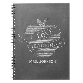 Chalk Inspired Apple I Love Teaching Notebook