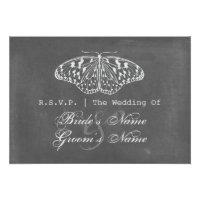 Chalk Inspired Butterfly Wedding RSVP Custom Announcements (<em>$2.20</em>)