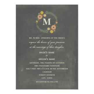 Chalk Inspired Fall Floral Wreath Wedding Card