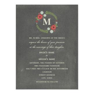 """Chalk Inspired Floral Wreath Wedding 5.5 x 7.5"""" Card"""