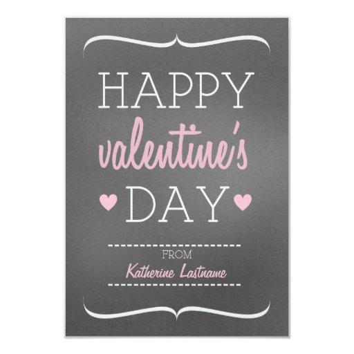 Chalk Inspired Kids School / Classroom Valentine 3.5x5 Paper Invitation Card