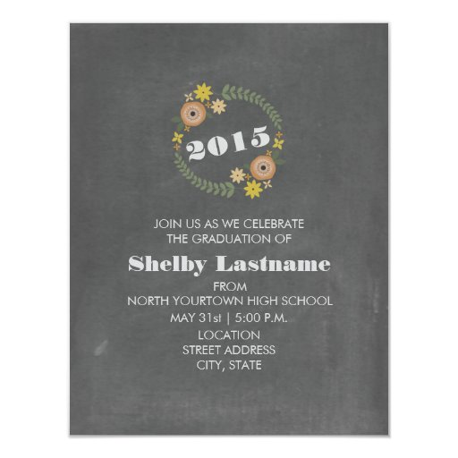 Chalk Inspired Orange Floral 2015 Graduation Personalized Invitations