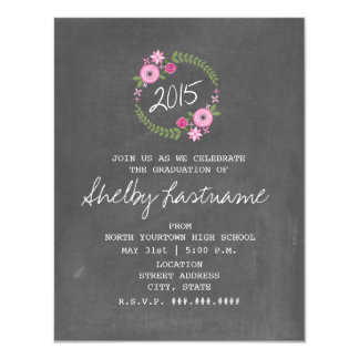 Chalk Inspired Pink Floral 2015 Photo Graduation 4.25x5.5 Paper Invitation Card