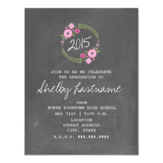 "Chalk Inspired Pink Floral 2015 Photo Graduation 4.25"" X 5.5"" Invitation Card"