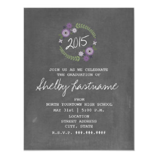 Chalk Inspired Purple Floral 2015 Photo Graduation 4.25x5.5 Paper Invitation Card