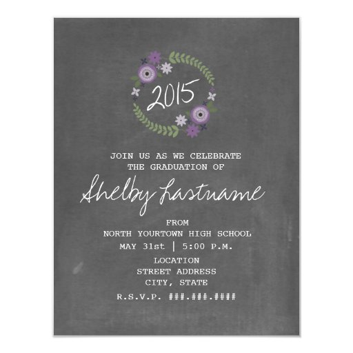 Chalk Inspired Purple Floral 2015 Photo Graduation Invites