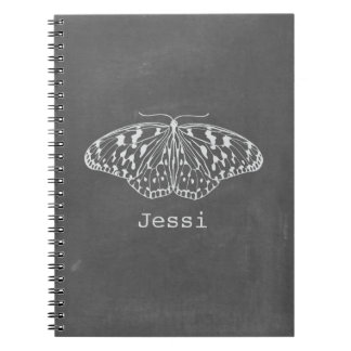 Chalk Inspired White Butterfly Spiral Notebook