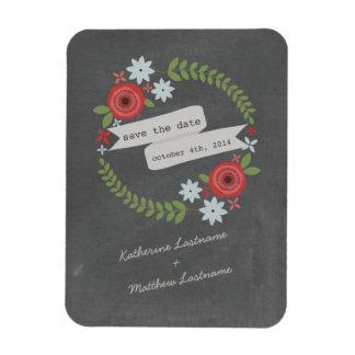 Chalk Insprired Floral Banner Wedding Save Date Rectangular Photo Magnet