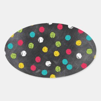 Chalk It Up! Rainbow Polka Dots – Chalkboard Print Oval Sticker
