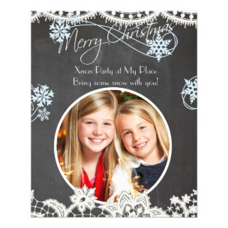 Chalk Lace Xmas Flyer with Your Photo