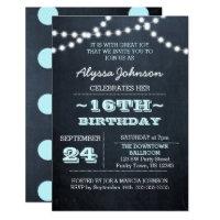 16th birthday invitations announcements zazzle chalk lights aqua 16th birthday invitation filmwisefo