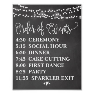 Chalk Lights Order of Events Poster