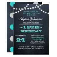 16th birthday invitations announcements zazzle chalk lights teal 16th birthday sm invitation filmwisefo Image collections