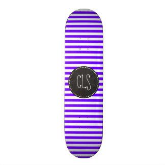 Chalk look Indigo, Violet, Purple & White Stripes Skateboard