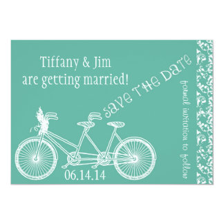 Chalk on Tiffany Blue Save the Date Card