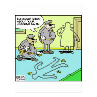Chalk Outline Funny Police Gifts & Collectibles Postcard