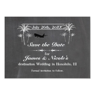 Chalk Palm Trees & Plane Destination Save the Date Card